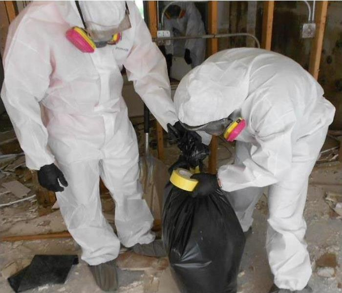 Mold specialists with protective gear removing debris